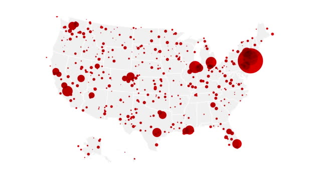vídeos de stock e filmes b-roll de coronavirus map of the us: cases state by state - dispersa