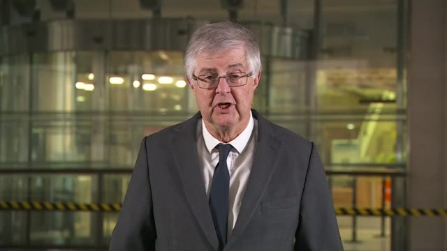 mark drakeford announces two week 'firebreak' lockdown in wales; england: london: int mark drakeford 2-way interview sot - wales stock videos & royalty-free footage