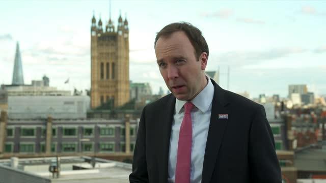 matt hancock interview; england: london: westminster: ext matt hancock mp interview sot. q: how worried about new variants? this big new vaccine... - partnership stock videos & royalty-free footage