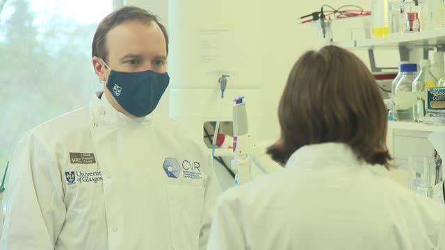 matt hancock visits glasgow university research laboratory; scotland: glasgow: glasgow university: centre for vaccine research: int various of matt... - epidemiology stock videos & royalty-free footage
