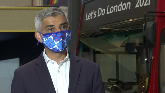 mayor declares masks must still be worn on london transport; england: london: int sadiq khan interview excerpt sot - so the train operating companies... - 20 24 years stock videos & royalty-free footage