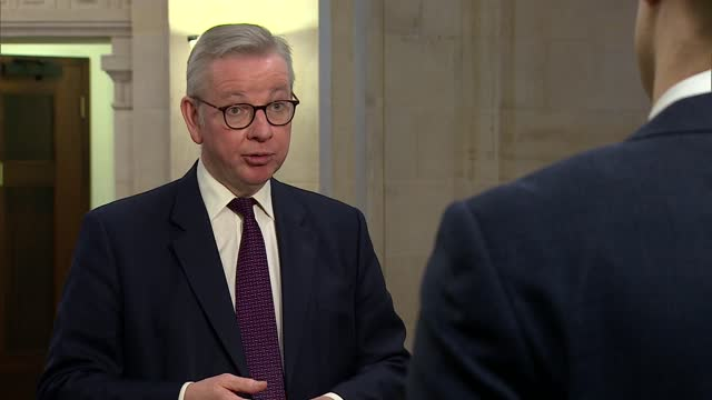 michael gove interview; england: london: westminster: int michael gove mp interview sot re. negative impact less than benefit - pandemic is force... - rolling stock videos & royalty-free footage