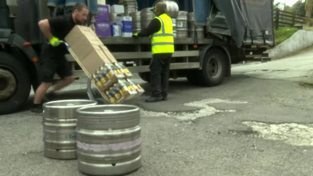 millions in england prepare for opening of pubs and hairdressers; england: cornwall: chilsworthy: ext exterior shots of white hart pub being prepared... - blackboard stock videos & royalty-free footage