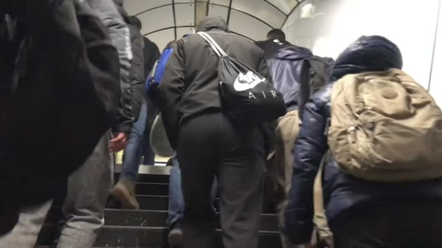 more action will be taken if people ignore stay home message uk england london various shots of commuters on crowded central line tube carriage matt... - journalist stock videos & royalty-free footage
