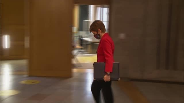 nicola sturgeon apologises for removing mask when talking in pub; scotland: edinburgh: scottish parliament; int nicola sturgeon msp along - nicola sturgeon stock videos & royalty-free footage