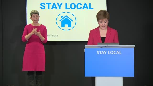 nicola sturgeon press conference 13th april 2021; scotland: edinburgh: st andrew's house: int nicola sturgeon msp arriving into press conference... - adjusting stock videos & royalty-free footage