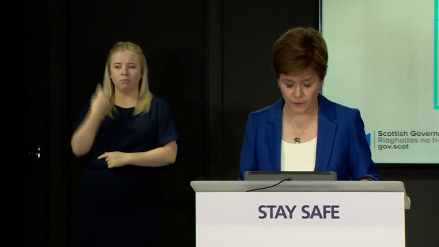 nicola sturgeon press conference 23rd june; scotland: edinburgh: int nicola sturgeon msp press conference opening statement sot part 1 of 3. - good... - 18 23 months stock videos & royalty-free footage