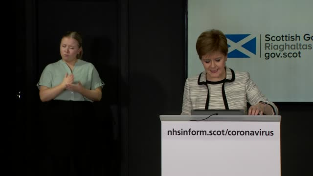 nicola sturgeon press conference april 14th; scotland: edinburgh: st andrew's house: int nicola sturgeon msp statement sot . - now, as i have... - main course stock videos & royalty-free footage
