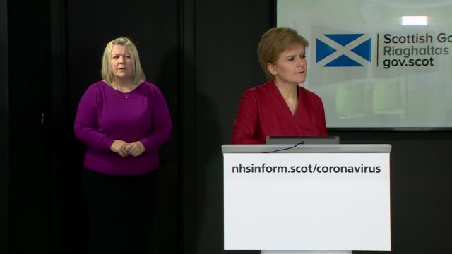 nicola sturgeon press conference april 6th scotland edinburgh st andrew's house int nicola sturgeon msp answering questions from reporters via video... - candid stock videos & royalty-free footage