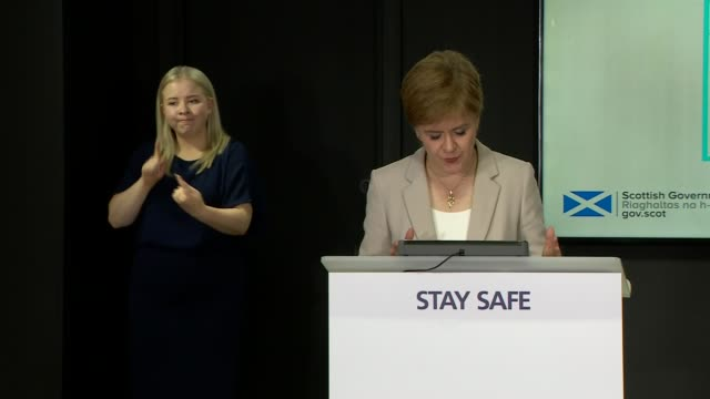 nicola sturgeon press conference august 18th scotland edinburgh st andrew's house int nicola sturgeon msp press conference opening statement sot part... - number 7 stock videos & royalty-free footage
