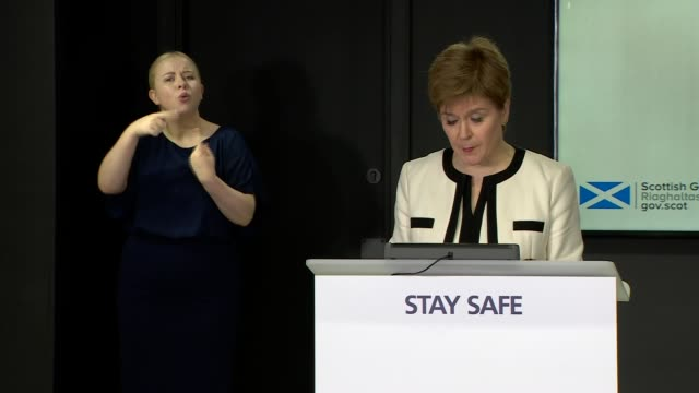 nicola sturgeon press conference august 25th; scotland: edinburgh: st andrew's house: int nicola sturgeon msp press conference opening statement sot... - main course stock videos & royalty-free footage