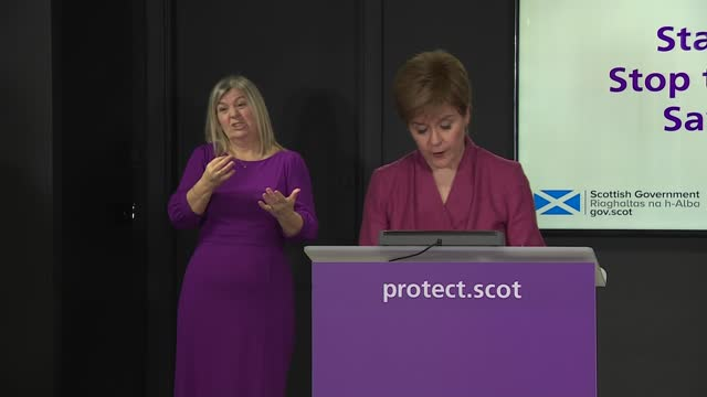 stockvideo's en b-roll-footage met nicola sturgeon press conference december 21st; scotland: edinburgh: st andrew's house: int nicola sturgeon msp opening statement sot part 3 of 4. -... - 40 seconds or greater