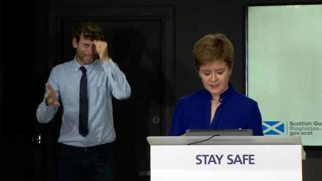 nicola sturgeon press conference july 16th scotland edinburgh st andrew's house int nicola sturgeon msp press conference opening statement sot part 1... - information sign stock videos & royalty-free footage