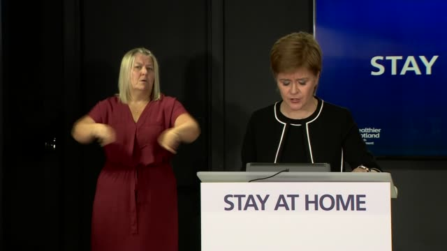 nicola sturgeon press conference june 15th; scotland: edinburgh: int nicola sturgeon msp press conference opening statement sot part 2 of 3. - now as... - main course stock videos & royalty-free footage