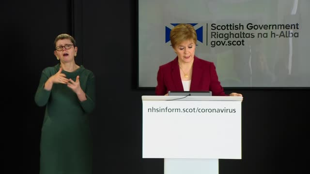 nicola sturgeon press conference march 29th; scotland: edinburgh: int press conference part 1 of 6 nicola sturgeon msp , dr catherine calderwood and... - beginnings stock videos & royalty-free footage