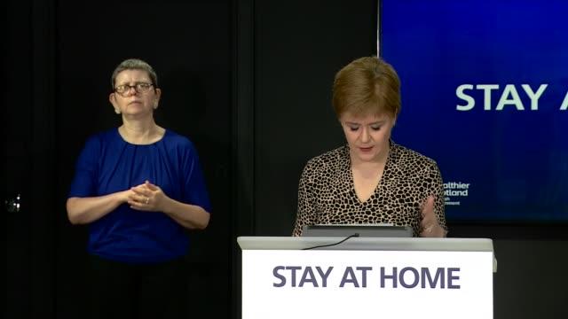 vídeos y material grabado en eventos de stock de nicola sturgeon press conference may 15th; scotland: edinburgh: st andrew's house: int nicola sturgeon msp press conference opening statement sot -... - number 9