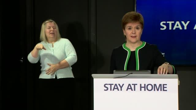 nicola sturgeon press conference may 25th; scotland: edinburgh: int nicola sturgeon msp arriving into press conference / statement sot. - good... - number 9 video stock e b–roll
