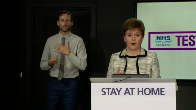nicola sturgeon press conference may 28th scotland edinburgh st andrew's house int nicola sturgeon msp opening statement sot part 3 of 5 and from... - timer stock videos & royalty-free footage