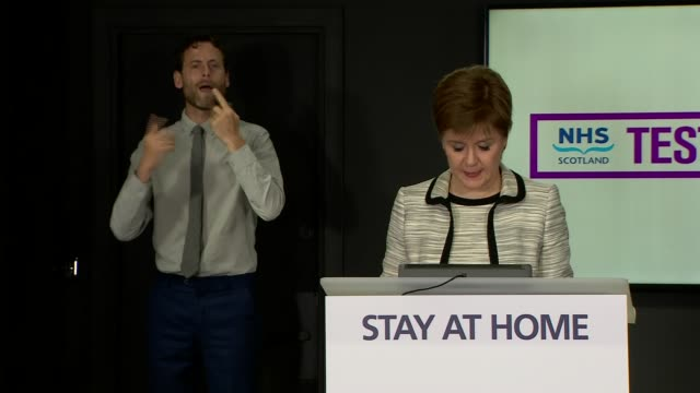 nicola sturgeon press conference may 28th; scotland: edinburgh: st andrew's house: int nicola sturgeon msp along and opening statement sot part 1 of... - number 9 video stock e b–roll