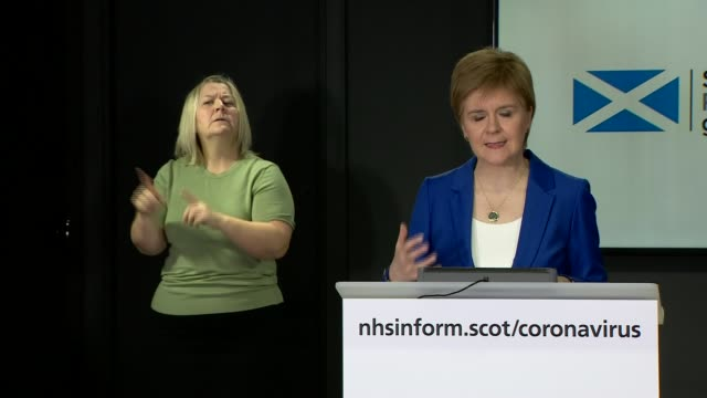 nicola sturgeon press conference may 4th; scotland: edinburgh: st andrew's house: int nicola sturgeon msp arriving into press conference / statement... - digital enhancement stock videos & royalty-free footage