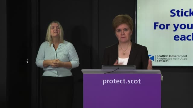 nicola sturgeon press conference october 12th; scotland: edinburgh: int nicola sturgeon msp press conference opening statement sot part 3 of 3. - in... - addition key stock videos & royalty-free footage