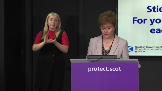 stockvideo's en b-roll-footage met nicola sturgeon press conference october 13th; scotland: edinburgh: st andrew's house: int nicola sturgeon msp opening statement sot part 1 of 3. -... - 40 seconds or greater