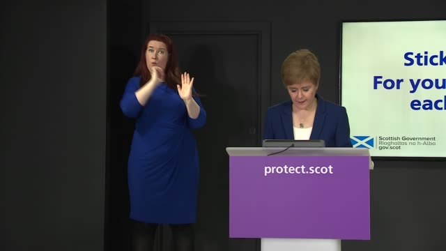 nicola sturgeon press conference october 21st scotland edinburgh int nicola sturgeon msp press conference opening statement sot part 1 of 3 good... - instrument of measurement stock videos & royalty-free footage
