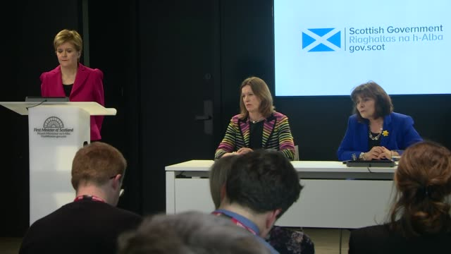 nicola sturgeon press conference scotland edinburgh int jeane freeman msp question and answer session sot on intensive care capacity doubling in... - salt water fish stock videos & royalty-free footage
