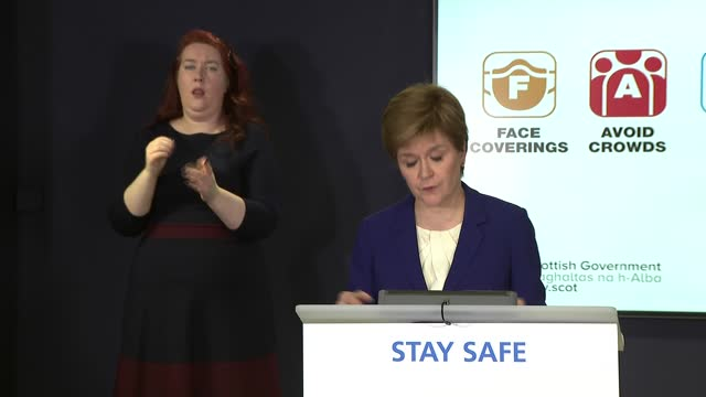 nicola sturgeon press conference; scotland: edinburgh: int nicola sturgeon msp press conference opening statement sot. - for those reason, we have... - hebrides stock videos & royalty-free footage