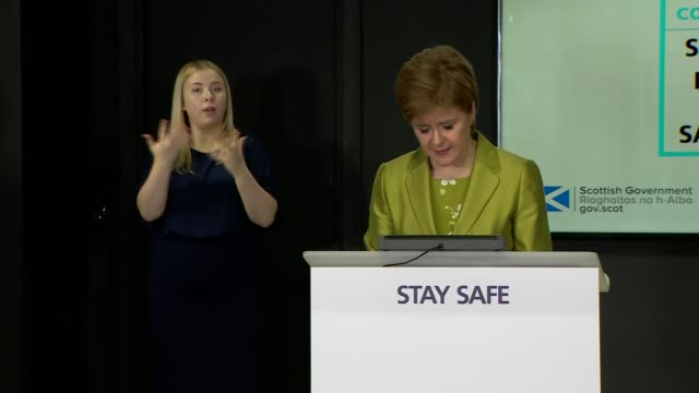 nicola sturgeon press conference; scotland: edinburgh: st andrew's house: int nicola sturgeon msp along and opening statement sot - i talked... - {{relatedsearchurl(carousel.phrase)}} video stock e b–roll