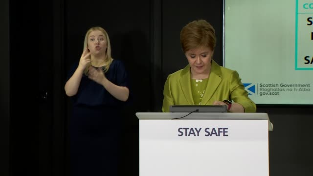nicola sturgeon press conference; scotland: edinburgh: st andrew's house: int nicola sturgeon msp along and opening statement sot - finally today,... - {{relatedsearchurl(carousel.phrase)}} video stock e b–roll