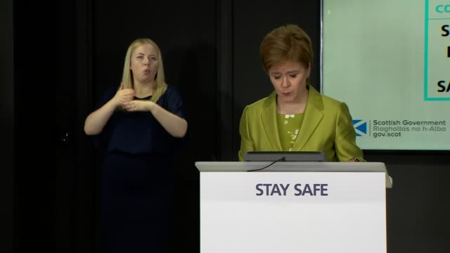 nicola sturgeon press conference; scotland: edinburgh: st andrew's house: int nicola sturgeon msp along and opening statement sot - i'm going to turn... - orthographic symbol stock videos & royalty-free footage