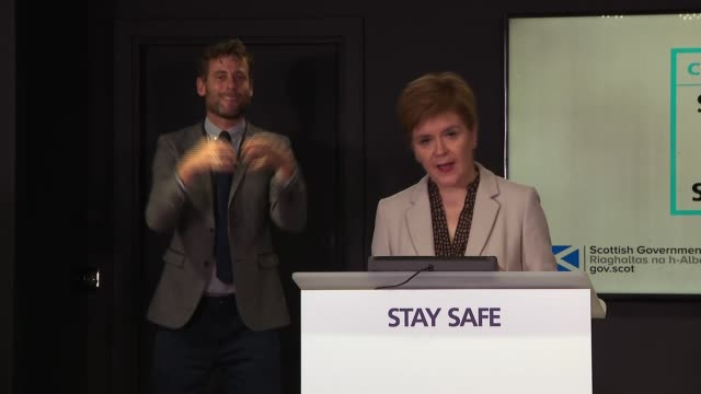 stockvideo's en b-roll-footage met nicola sturgeon press conference september 3rd; scotland: edinburgh: int nicola sturgeon msp press conference opening statement sot part 2 of 3. -... - plant stage