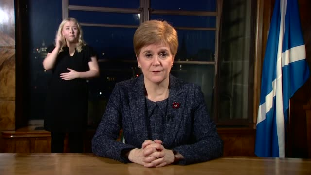 nicola sturgeon televised address; scotland: edinburgh: int nicola sturgeon msp address sot. - firstly, a heartfelt thank you for the sacrifices... - member of the scottish parliament stock videos & royalty-free footage
