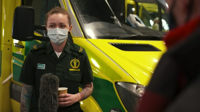 northern ireland ambulance service struggles to cope with effects of covid019 pandemic; northern ireland: belfast: ext evening view over the city... - river lagan stock videos & royalty-free footage