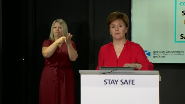 number of deaths falls to 2 week low as lockdown measures are eased across the uk scotland edinburgh int nicola sturgeon msp speaking at press... - galloway scotland stock videos & royalty-free footage