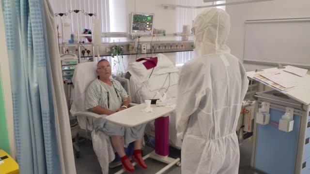 vídeos de stock e filmes b-roll de number of hospital admissions in england rises by 40 per cent in a week; blackpool, uk; dr jason cupitt interview, brenda sharp interview, reporter... - equipamento respiratório