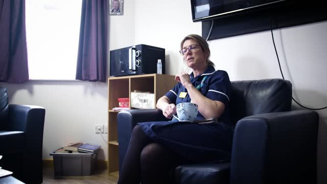 one year of covid in the uk - warwick hospital feature; england: warwick: warwick hospital: int suzi finn interview sot laura hall interview sot... - colleague stock videos & royalty-free footage