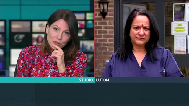 'one year on' interviews: care home manager debbie adams; england: london: gir / luton: int / ext debbie adams live 2-way interview via internet sot. - itv lunchtime news stock videos & royalty-free footage