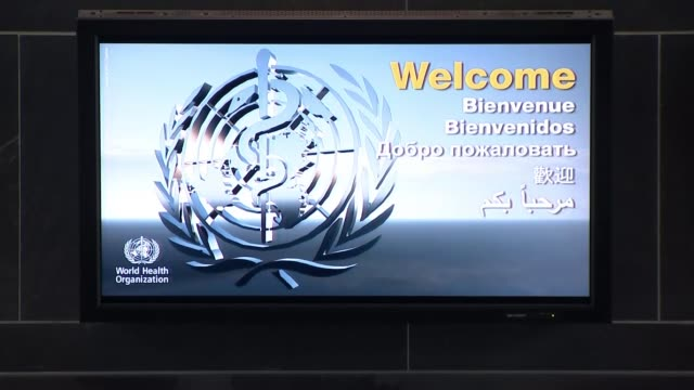who urges countries to be aggressive in fighting covid 19 switzerland geneva int various shots of world health organisation delegates chatting and... - logo stock videos & royalty-free footage