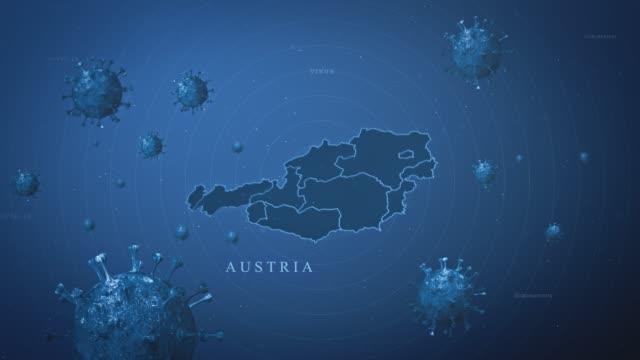 coronavirus outbreak with and austria map stock video  (coronavirus concept) - 3d animation stock videos & royalty-free footage