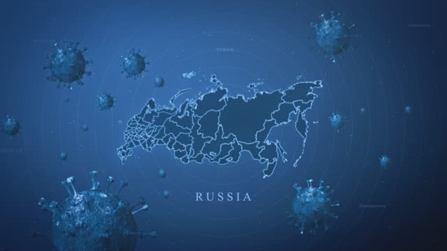 coronavirus outbreak with and russia map stock video  (coronavirus concept) - 3d animation stock videos & royalty-free footage