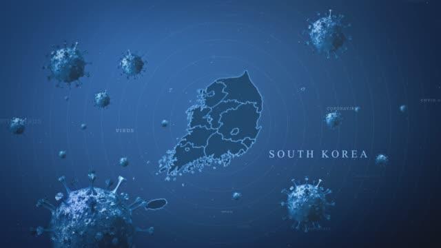 coronavirus outbreak with and south korea map stock video  (coronavirus concept) - coreano video stock e b–roll