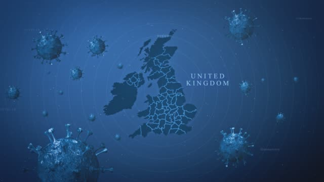 coronavirus outbreak with and uk map stock video  (coronavirus concept) - 3d animation stock videos & royalty-free footage