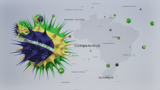 coronavirus outbreak with brazil  flag and map coronavirus concept stock video - brazil stock videos & royalty-free footage