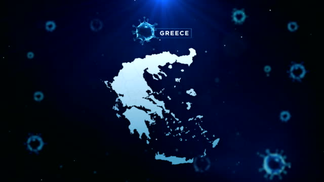 4k coronavirus outbreak with greece map coronavirus concept - greek flag stock videos & royalty-free footage