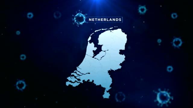 vidéos et rushes de 4k coronavirus outbreak with netherlands map coronavirus concept - pays bas