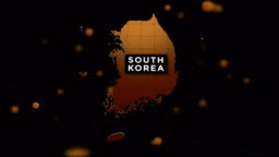 4K Coronavirus Outbreak with South Korea Map Coronavirus Concept