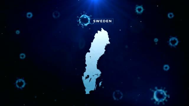 vidéos et rushes de 4k coronavirus outbreak with sweden map coronavirus concept - suède