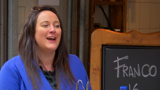 outdoor hospitality to reopen next week; england: london: soho: int lesley lewis interview sot / set up shots with reporter ext lgbt rainbow flag... - tilt down stock videos & royalty-free footage
